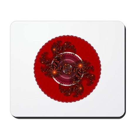 Fractal Kaleidoscope Red Mousepad