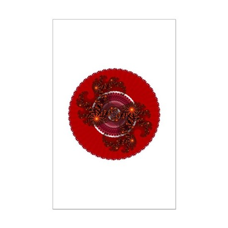 Fractal Kaleidoscope Red Mini Poster Print