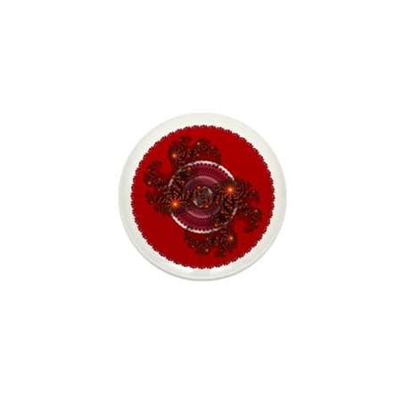 Fractal Kaleidoscope Red Mini Button (10 pack)