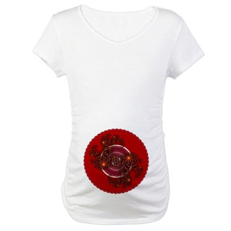 Fractal Kaleidoscope Red Maternity T-Shirt