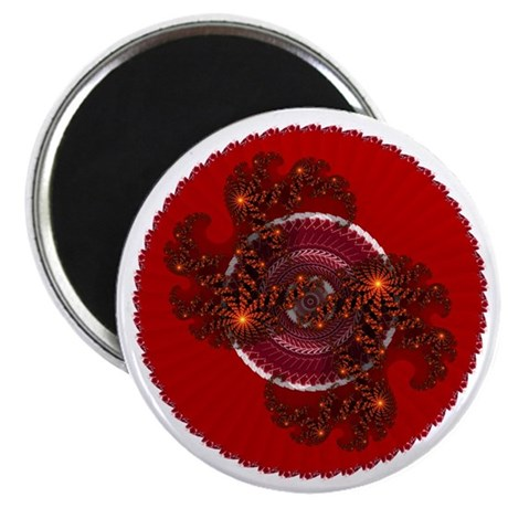 "Fractal Kaleidoscope Red 2.25"" Magnet (10 pack)"