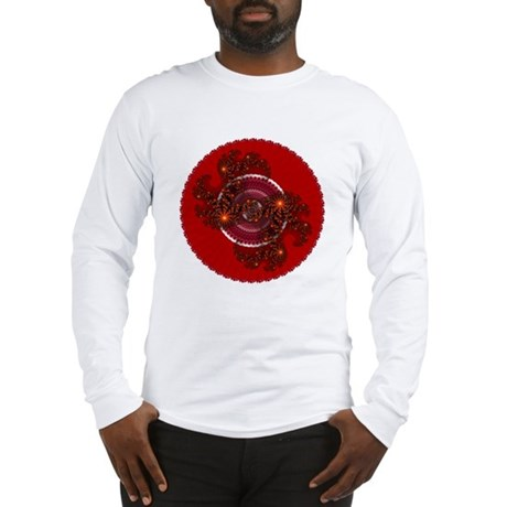 Fractal Kaleidoscope Red Long Sleeve T-Shirt