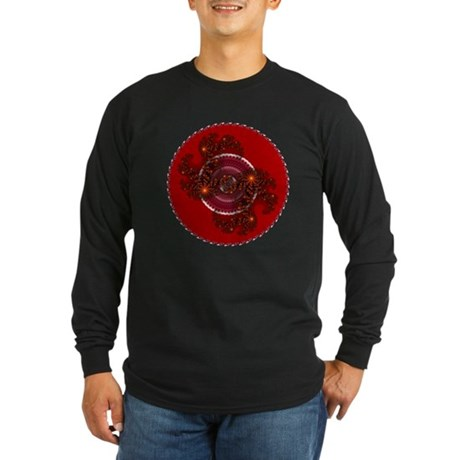 Fractal Kaleidoscope Red Long Sleeve Dark T-Shirt