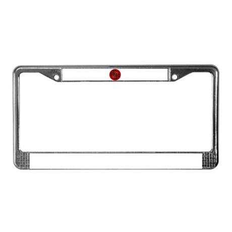 Fractal Kaleidoscope Red License Plate Frame