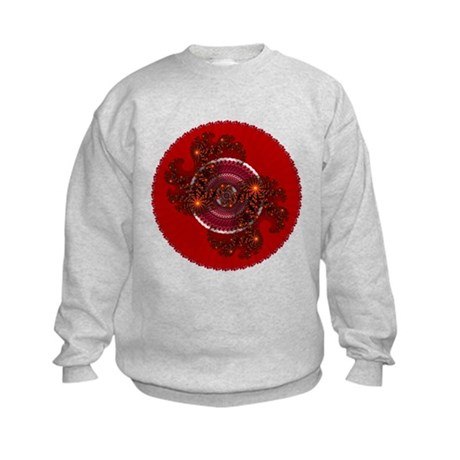 Fractal Kaleidoscope Red Kids Sweatshirt