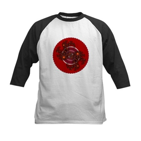 Fractal Kaleidoscope Red Kids Baseball Jersey