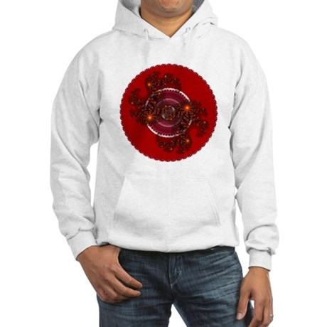 Fractal Kaleidoscope Red Hooded Sweatshirt