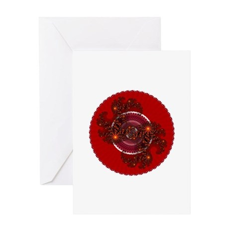 Fractal Kaleidoscope Red Greeting Card