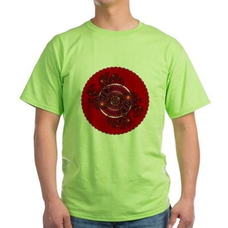 Fractal Kaleidoscope Red Green T-Shirt
