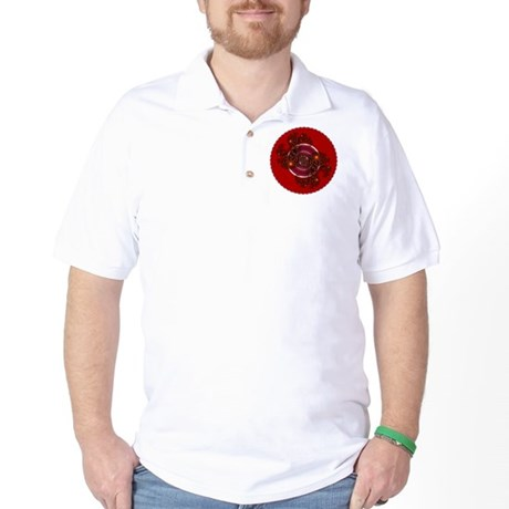Fractal Kaleidoscope Red Golf Shirt