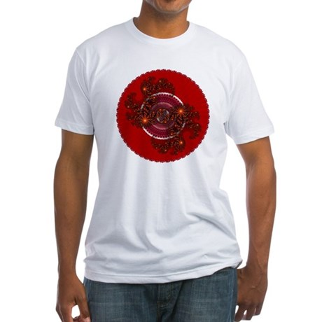 Fractal Kaleidoscope Red Fitted T-Shirt