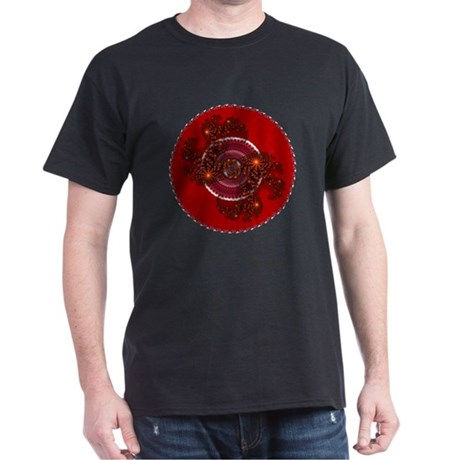 Fractal Kaleidoscope Red Dark T-Shirt