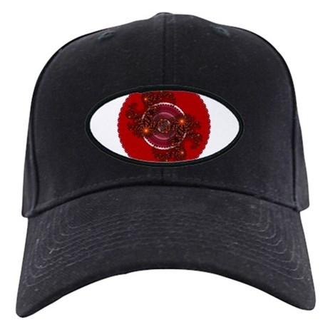 Fractal Kaleidoscope Red Black Cap