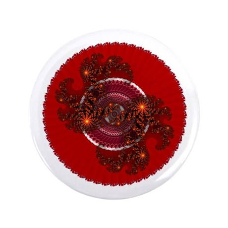 "Fractal Kaleidoscope Red 3.5"" Button (100 pack)"