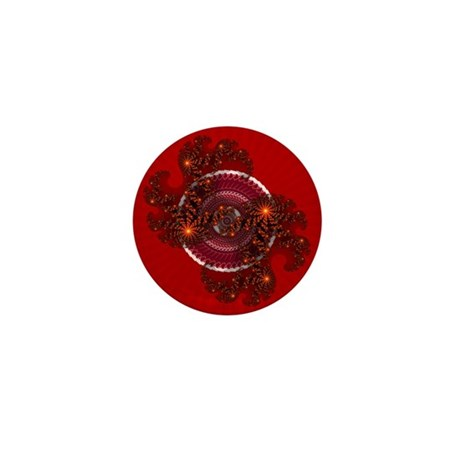 Fractal Kaleidoscope Red Mini Button