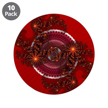 "Fractal Kaleidoscope Red 3.5"" Button (10 pack)"