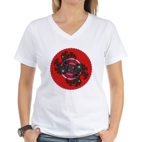 Fractal Kaleidoscope Red 2 Women's V-Neck T-Shirt