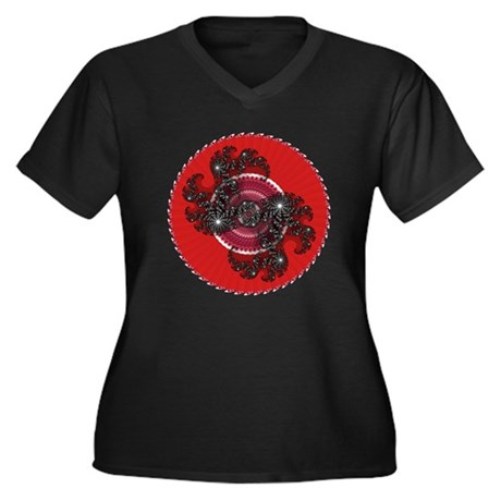Fractal Kaleidoscope Red 2 Women's Plus Size V-Nec