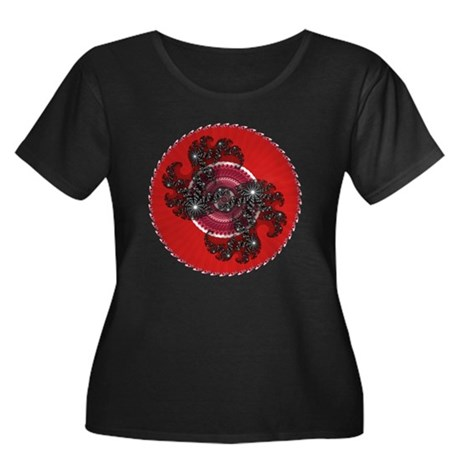 Fractal Kaleidoscope Red 2 Women's Plus Size Scoop
