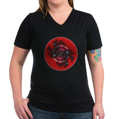 Fractal Kaleidoscope Red 2 Women's V-Neck Dark T-S