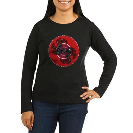 Fractal Kaleidoscope Red 2 Women's Long Sleeve Dar
