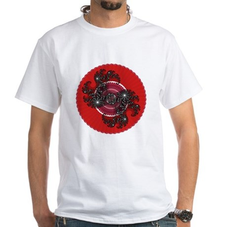 Fractal Kaleidoscope Red 2 White T-Shirt