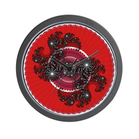 Fractal Kaleidoscope Red 2 Wall Clock