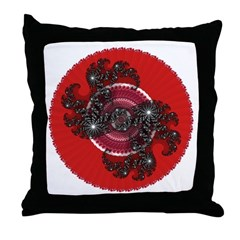 Fractal Kaleidoscope Red 2 Throw Pillow