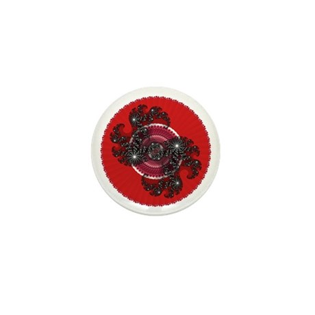 Fractal Kaleidoscope Red 2 Mini Button (10 pack)