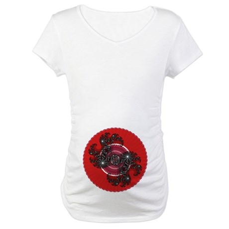Fractal Kaleidoscope Red 2 Maternity T-Shirt