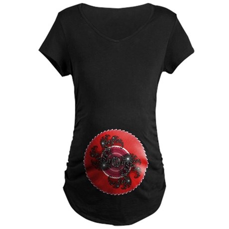 Fractal Kaleidoscope Red 2 Maternity Dark T-Shirt