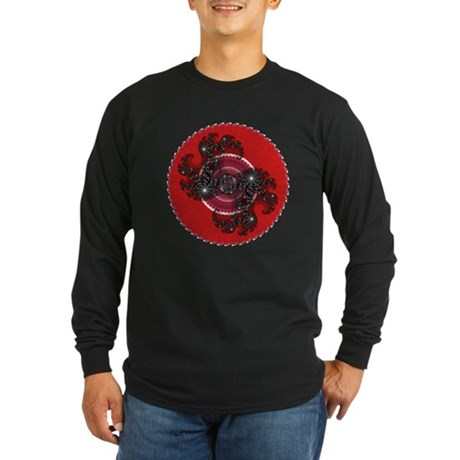 Fractal Kaleidoscope Red 2 Long Sleeve Dark T-Shir