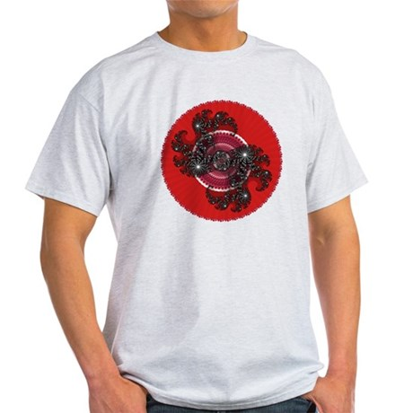 Fractal Kaleidoscope Red 2 Light T-Shirt