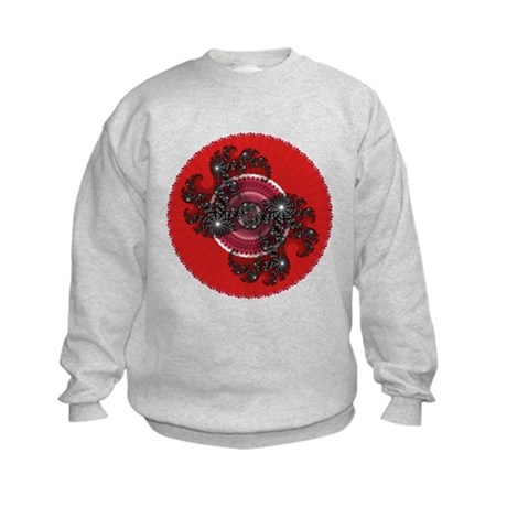 Fractal Kaleidoscope Red 2 Kids Sweatshirt