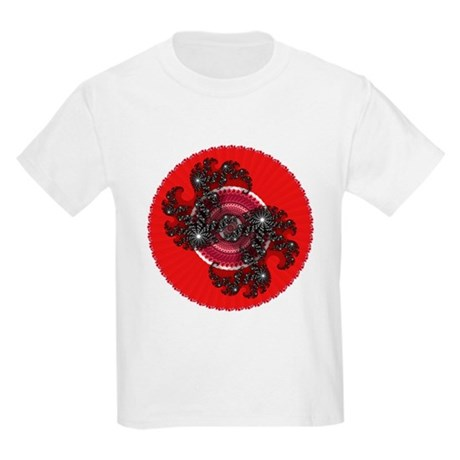 Fractal Kaleidoscope Red 2 Kids Light T-Shirt