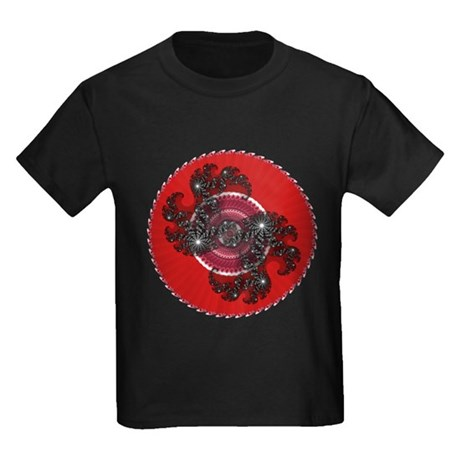 Fractal Kaleidoscope Red 2 Kids Dark T-Shirt