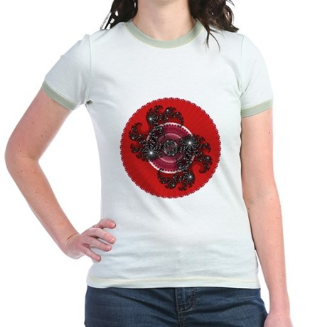 Fractal Kaleidoscope Red 2 Jr. Ringer T-Shirt