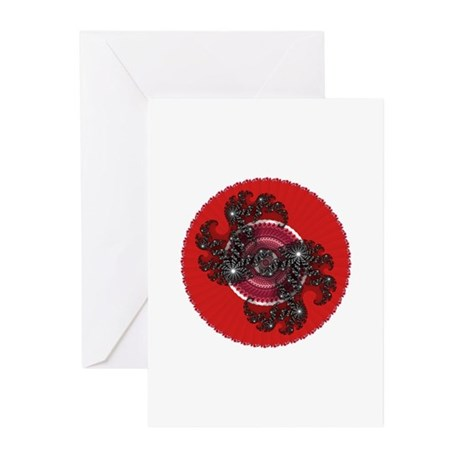 Fractal Kaleidoscope Red 2 Greeting Cards (Pk of 2