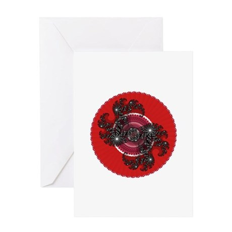 Fractal Kaleidoscope Red 2 Greeting Card