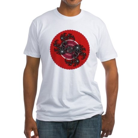 Fractal Kaleidoscope Red 2 Fitted T-Shirt