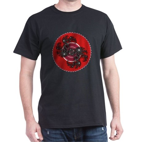 Fractal Kaleidoscope Red 2 Dark T-Shirt