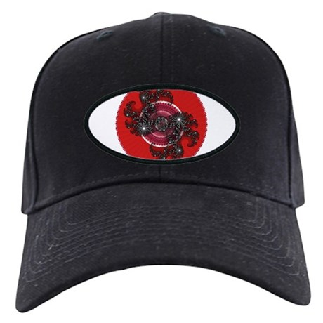 Fractal Kaleidoscope Red 2 Black Cap
