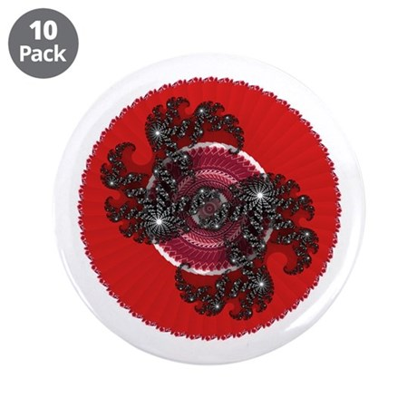"Fractal Kaleidoscope Red 2 3.5"" Button (10 pack)"