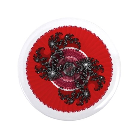 "Fractal Kaleidoscope Red 2 3.5"" Button"