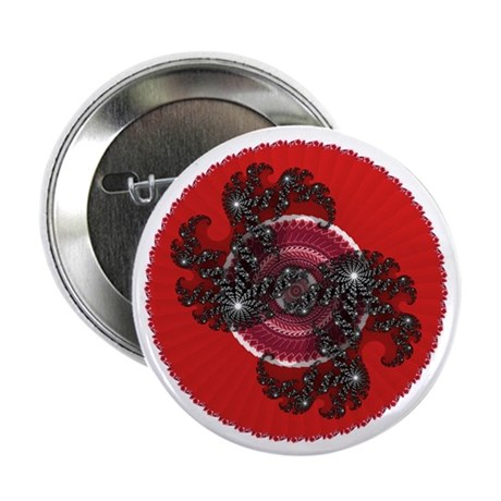 "Fractal Kaleidoscope Red 2 2.25"" Button (100 pack)"