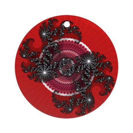 Fractal Kaleidoscope Red 2 Ornament (Round)