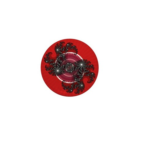Fractal Kaleidoscope Red 2 Mini Button (100 pack)