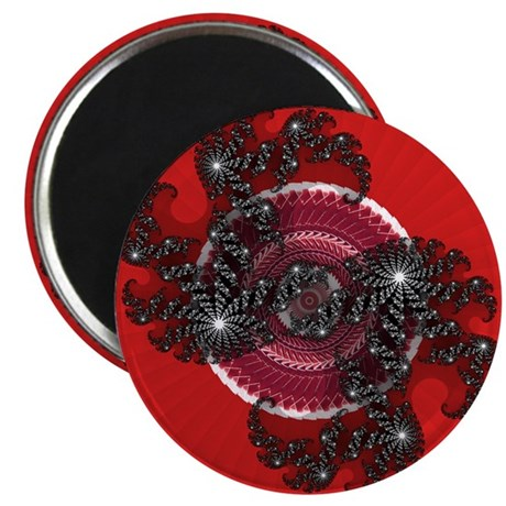 "Fractal Kaleidoscope Red 2 2.25"" Magnet (100 pack)"