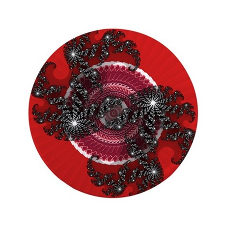 "Fractal Kaleidoscope Red 2 3.5"" Button (100 pack)"