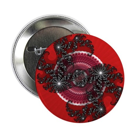 "Fractal Kaleidoscope Red 2 2.25"" Button"